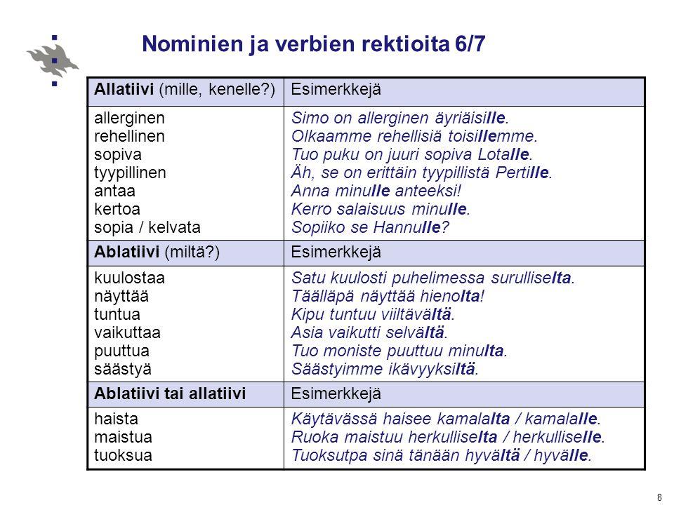 Nominien ja verbien rektioita 6/7