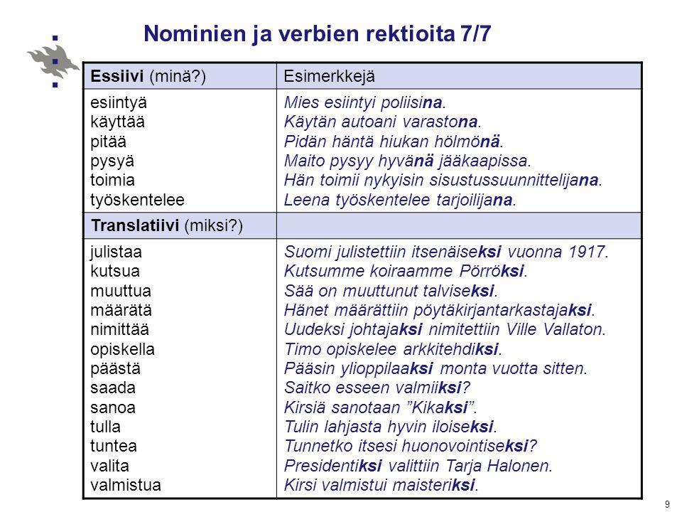 Nominien ja verbien rektioita 7/7