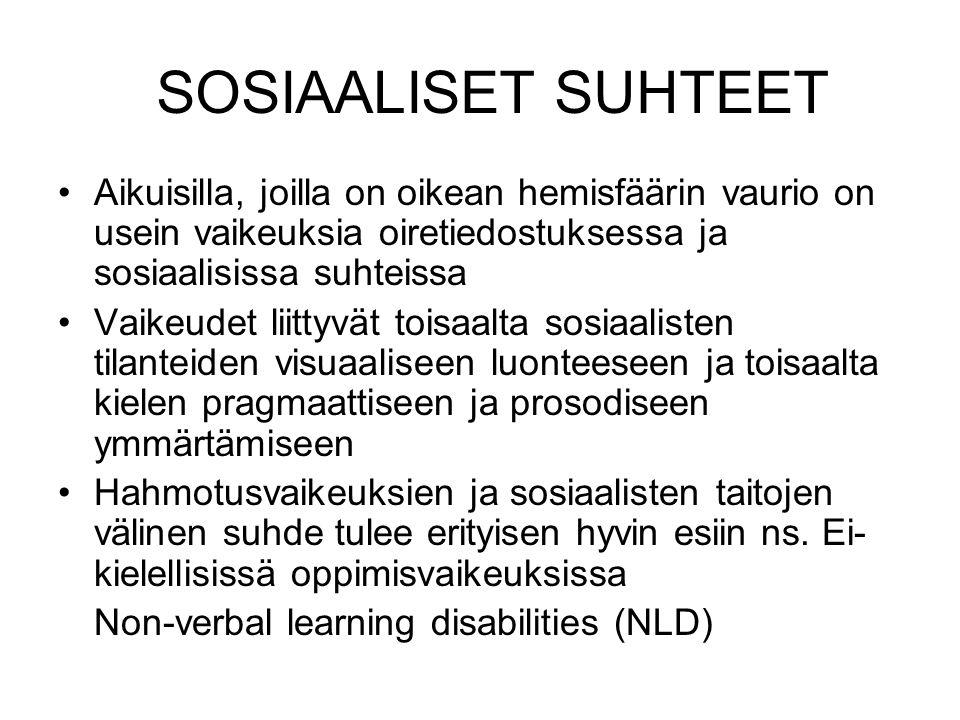 SOSIAALISET SUHTEET Aikuisilla, joilla on oikean hemisfäärin vaurio on usein vaikeuksia oiretiedostuksessa ja sosiaalisissa suhteissa.