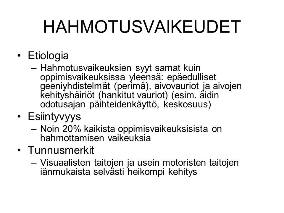 HAHMOTUSVAIKEUDET Etiologia Esiintyvyys Tunnusmerkit