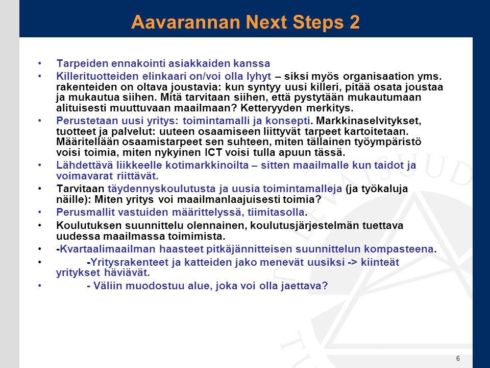 Aavarannan Next Steps 2 Tarpeiden ennakointi asiakkaiden kanssa