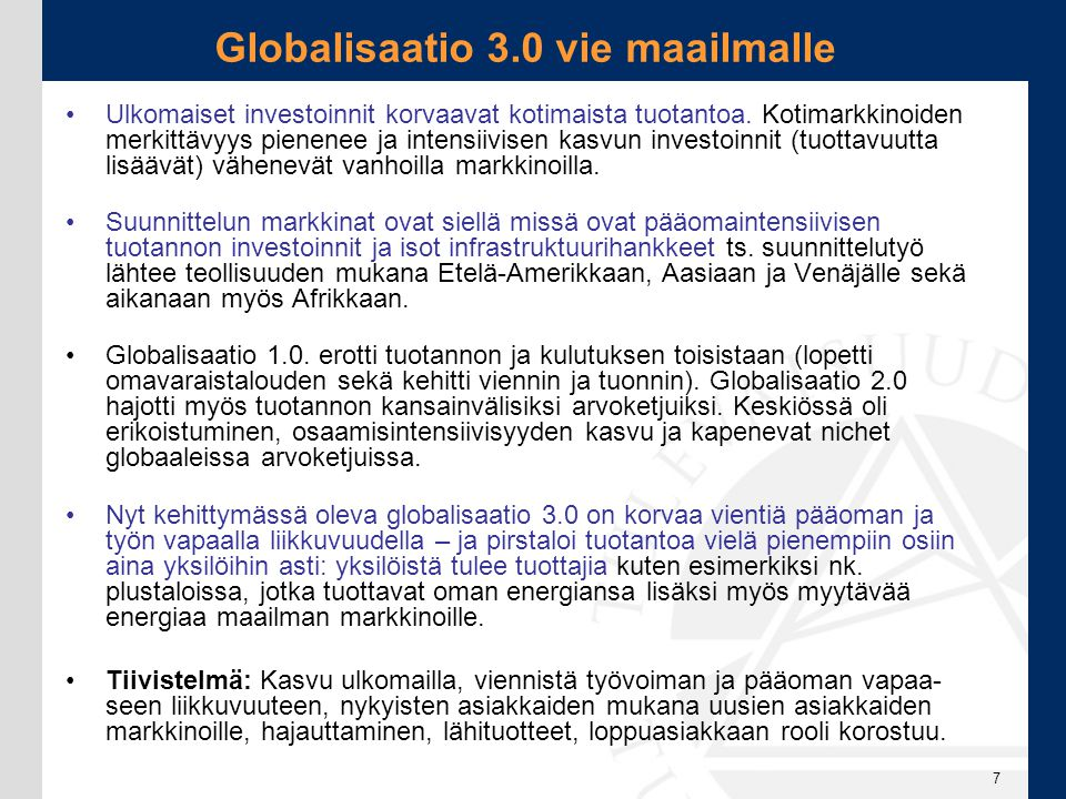 Globalisaatio 3.0 vie maailmalle