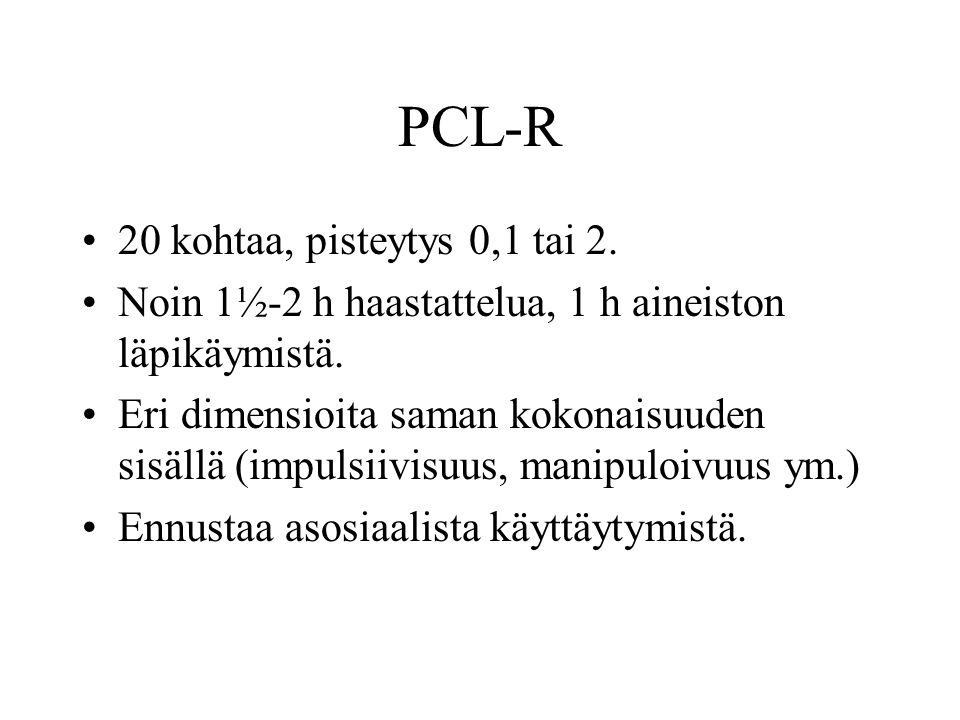 PCL-R 20 kohtaa, pisteytys 0,1 tai 2.