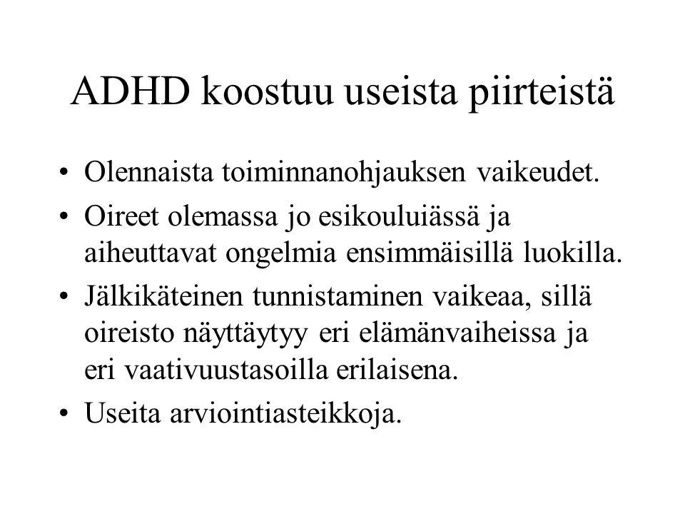 ADHD koostuu useista piirteistä