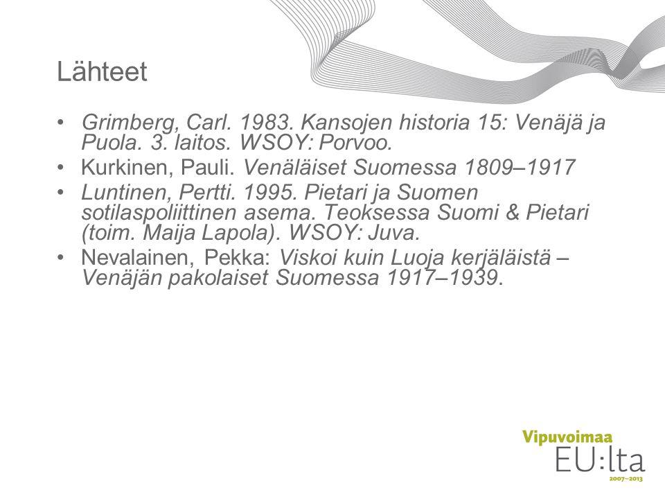 Lähteet Grimberg, Carl. 1983. Kansojen historia 15: Venäjä ja Puola. 3. laitos. WSOY: Porvoo. Kurkinen, Pauli. Venäläiset Suomessa 1809–1917.