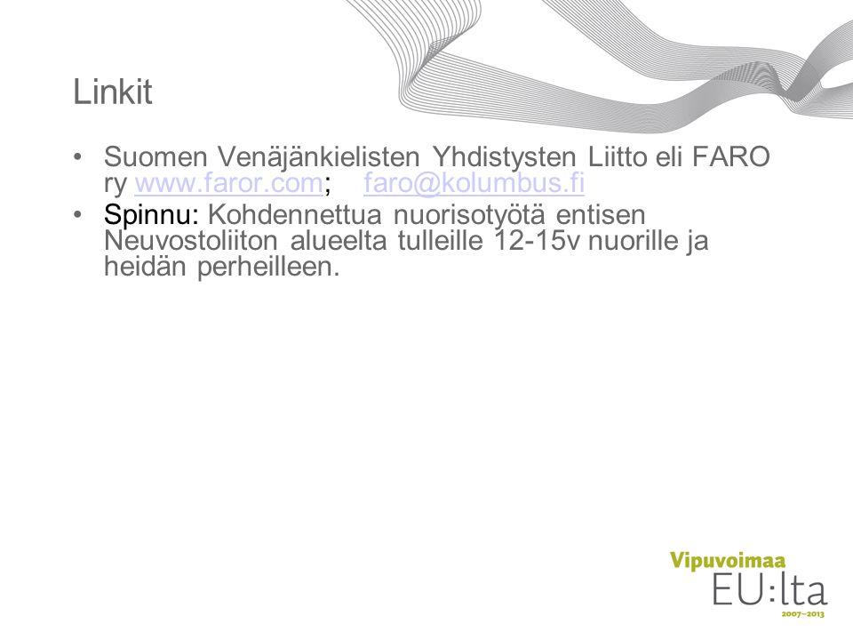 Linkit Suomen Venäjänkielisten Yhdistysten Liitto eli FARO ry www.faror.com; faro@kolumbus.fi.