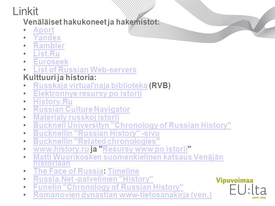 Linkit Venäläiset hakukoneet ja hakemistot: Aport Yandex Rambler
