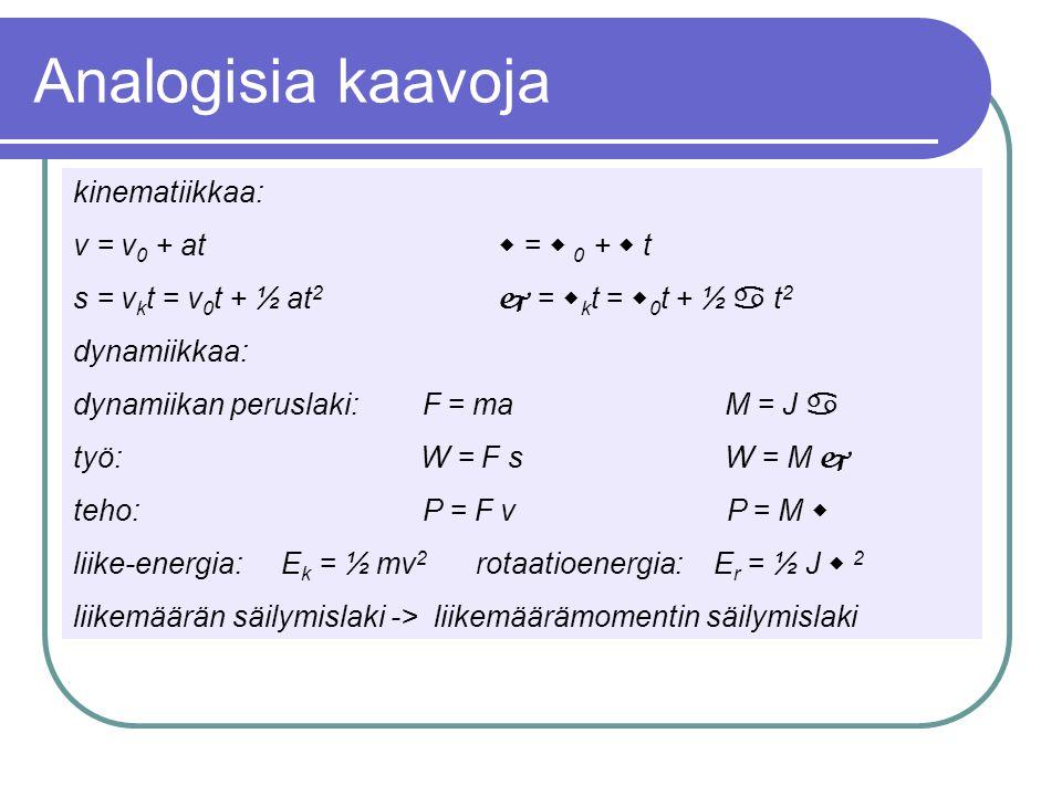 Analogisia kaavoja kinematiikkaa: v = v0 + at  =  0 +  t