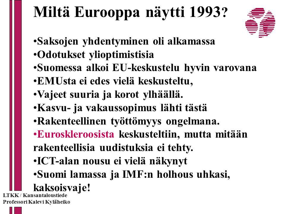 Miltä Eurooppa näytti 1993 Saksojen yhdentyminen oli alkamassa
