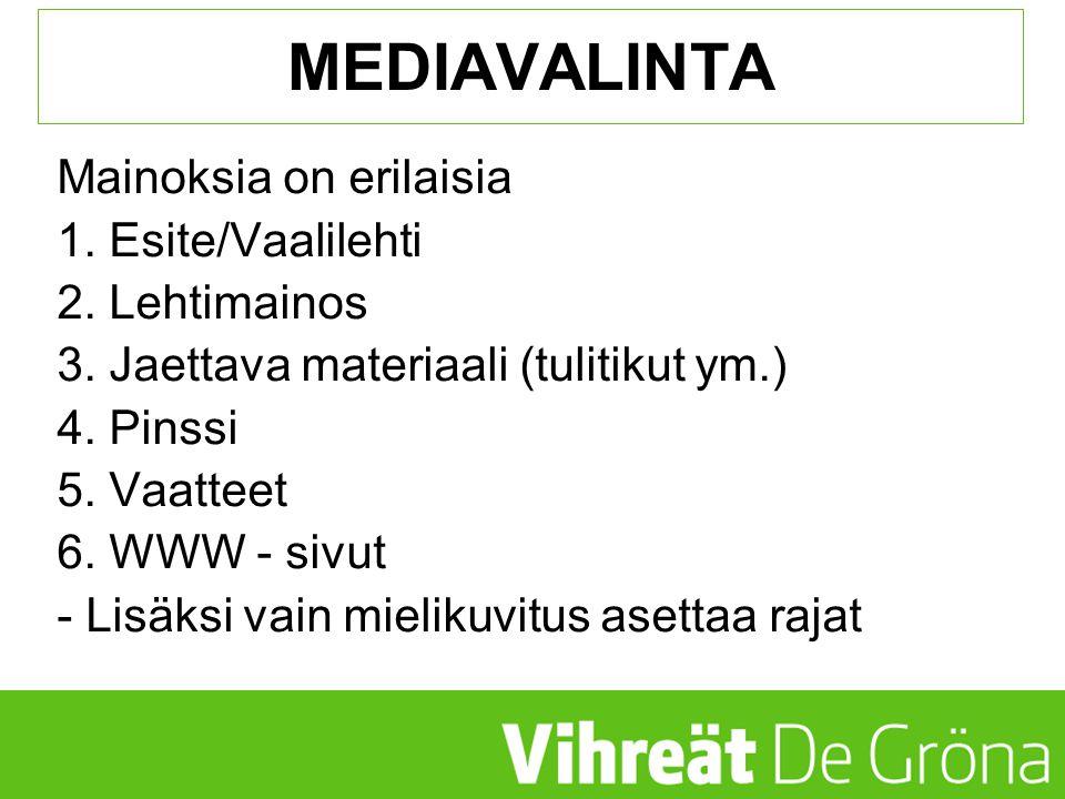 MEDIAVALINTA Mainoksia on erilaisia 1. Esite/Vaalilehti 2. Lehtimainos