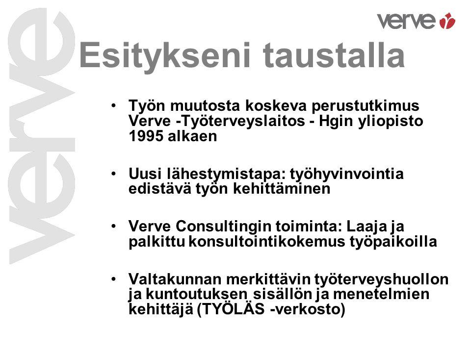 Esitykseni taustalla Työn muutosta koskeva perustutkimus Verve -Työterveyslaitos - Hgin yliopisto 1995 alkaen.