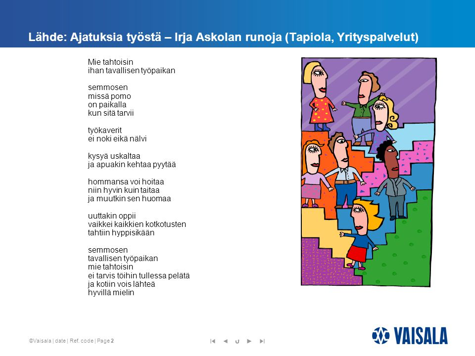 Lähde: Ajatuksia työstä – Irja Askolan runoja (Tapiola, Yrityspalvelut)