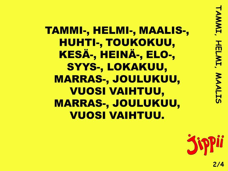 TAMMI-, HELMI-, MAALIS-, HUHTI-, TOUKOKUU, KESÄ-, HEINÄ-, ELO-,