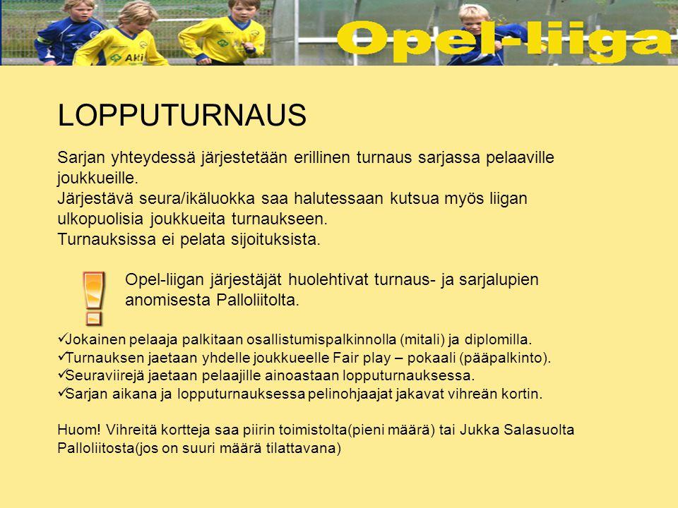 LOPPUTURNAUS Sarjan yhteydessä järjestetään erillinen turnaus sarjassa pelaaville joukkueille.