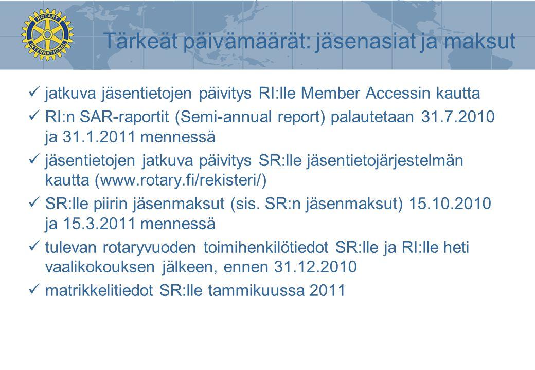 Tärkeät päivämäärät: jäsenasiat ja maksut
