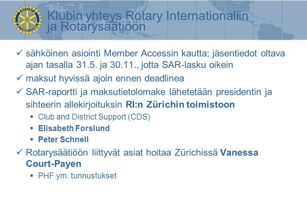 Klubin yhteys Rotary Internationaliin ja Rotarysäätiöön