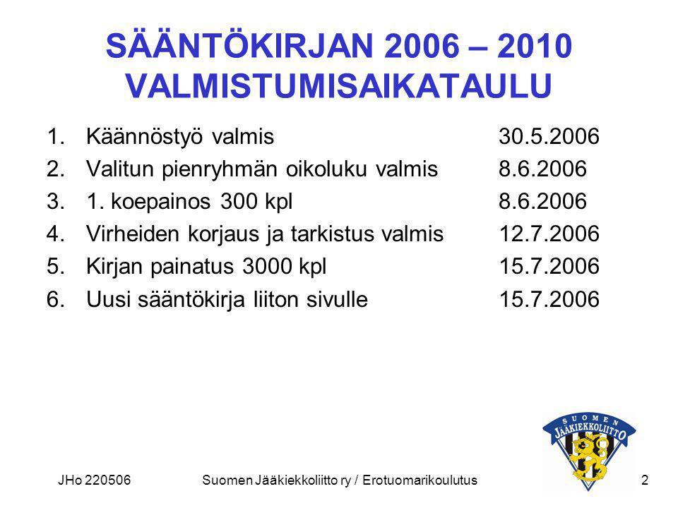 SÄÄNTÖKIRJAN 2006 – 2010 VALMISTUMISAIKATAULU