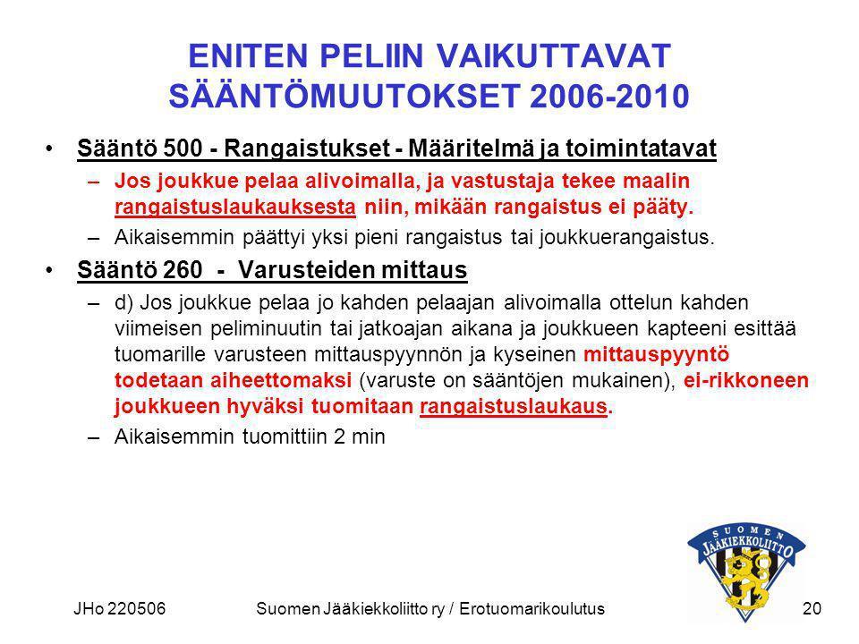 ENITEN PELIIN VAIKUTTAVAT SÄÄNTÖMUUTOKSET 2006-2010