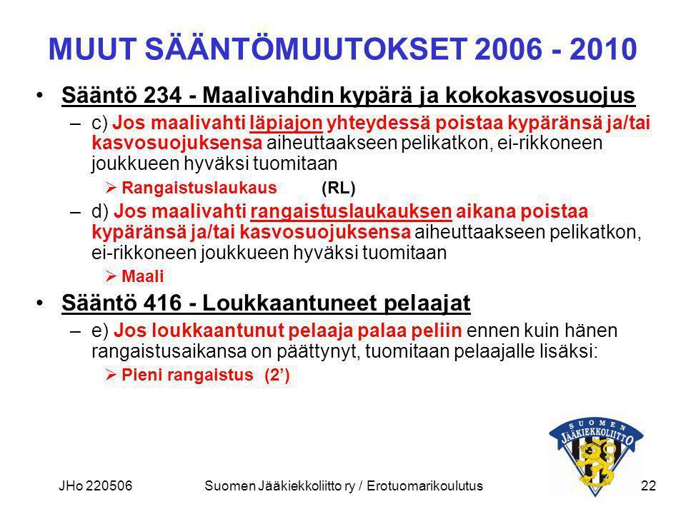 MUUT SÄÄNTÖMUUTOKSET 2006 - 2010