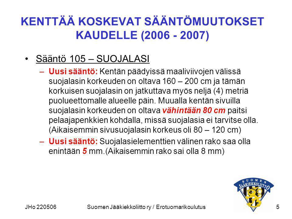 KENTTÄÄ KOSKEVAT SÄÄNTÖMUUTOKSET KAUDELLE (2006 - 2007)