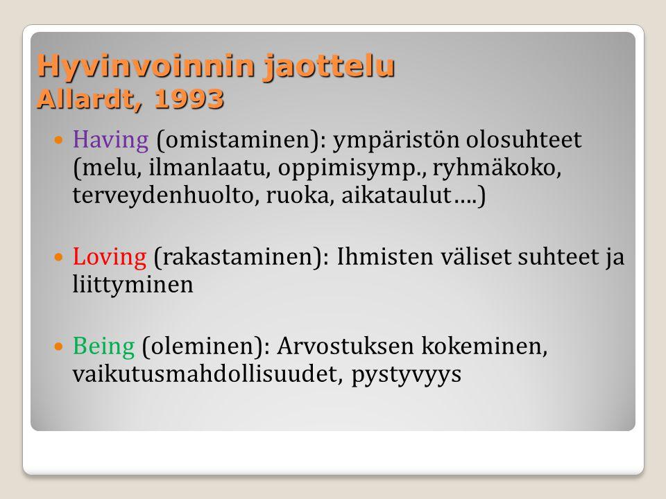 Hyvinvoinnin jaottelu Allardt, 1993