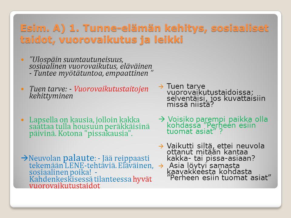 Esim. A) 1. Tunne-elämän kehitys, sosiaaliset taidot, vuorovaikutus ja leikki