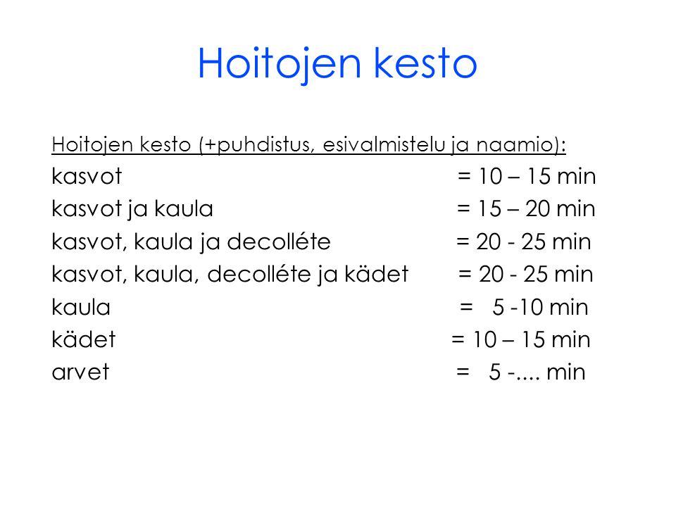 Hoitojen kesto kasvot = 10 – 15 min kasvot ja kaula = 15 – 20 min