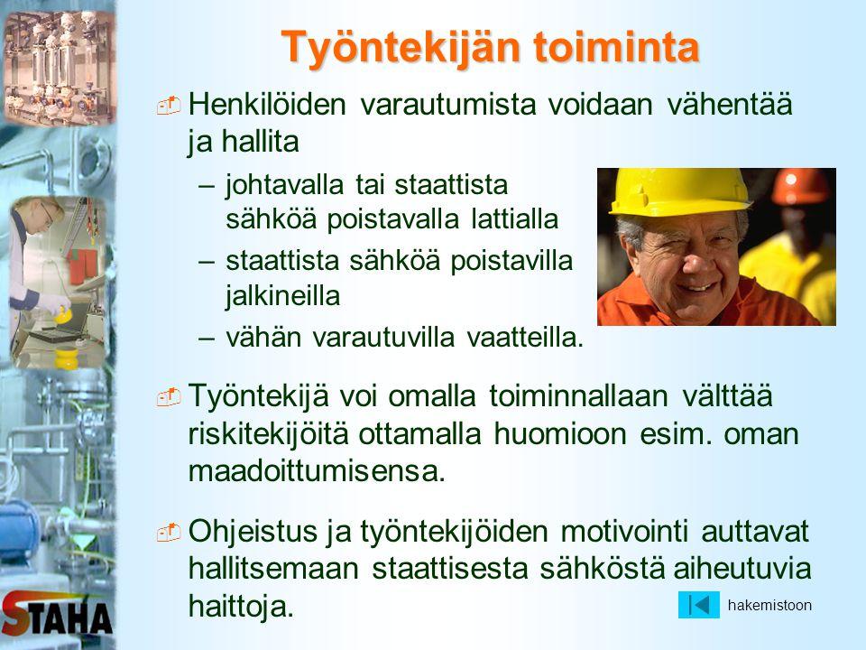 Työntekijän toiminta Henkilöiden varautumista voidaan vähentää ja hallita. johtavalla tai staattista sähköä poistavalla lattialla.