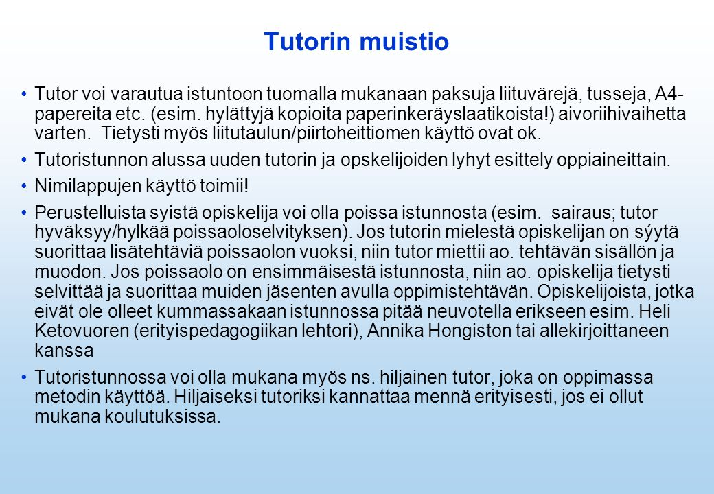 Tutorin muistio