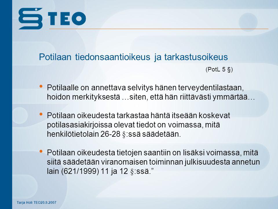 Potilaan tiedonsaantioikeus ja tarkastusoikeus (PotL 5 §)
