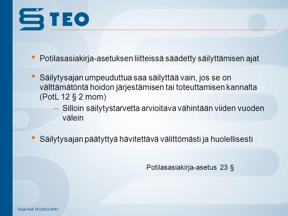 Potilasasiakirja-asetus 23 §