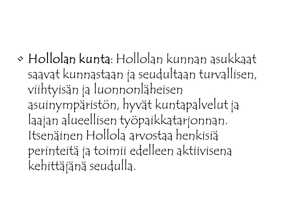 Hollolan kunta: Hollolan kunnan asukkaat saavat kunnastaan ja seudultaan turvallisen, viihtyisän ja luonnonläheisen asuinympäristön, hyvät kuntapalvelut ja laajan alueellisen työpaikkatarjonnan.
