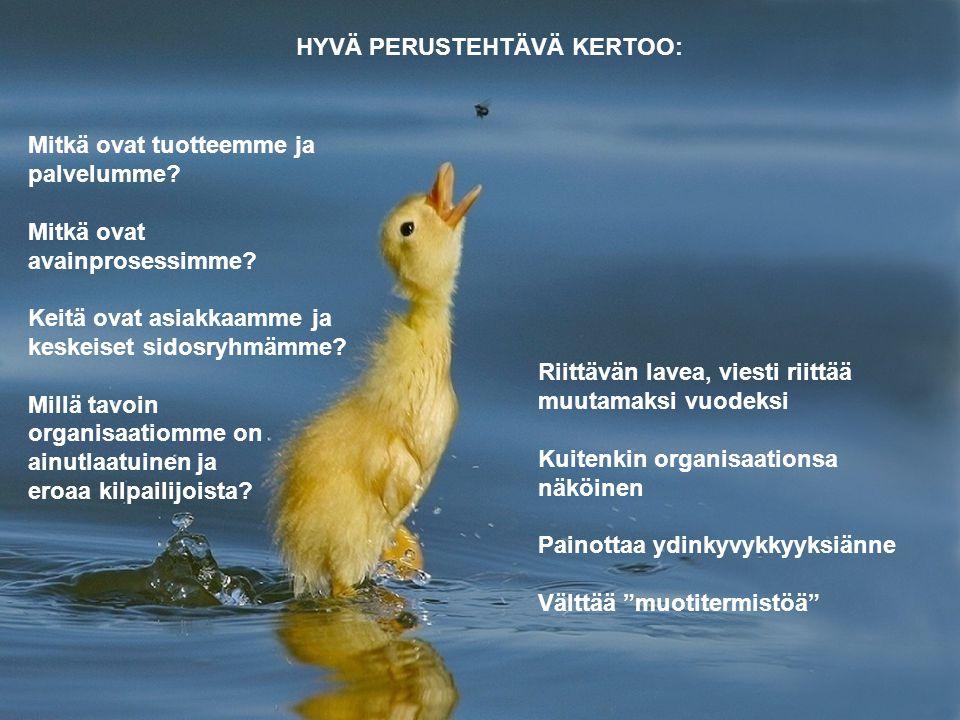 HYVÄ PERUSTEHTÄVÄ KERTOO: