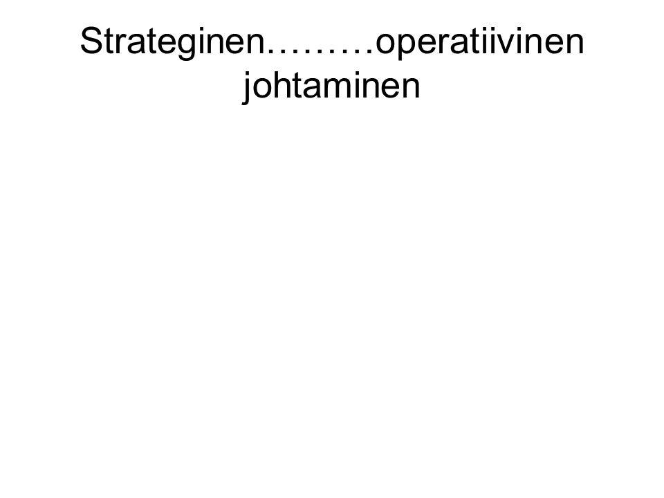 Strateginen………operatiivinen johtaminen