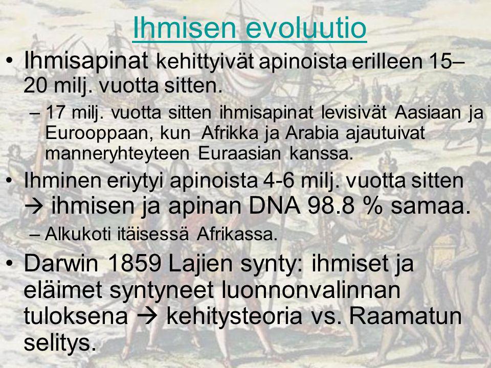 Ihmisen evoluutio Ihmisapinat kehittyivät apinoista erilleen 15–20 milj. vuotta sitten.