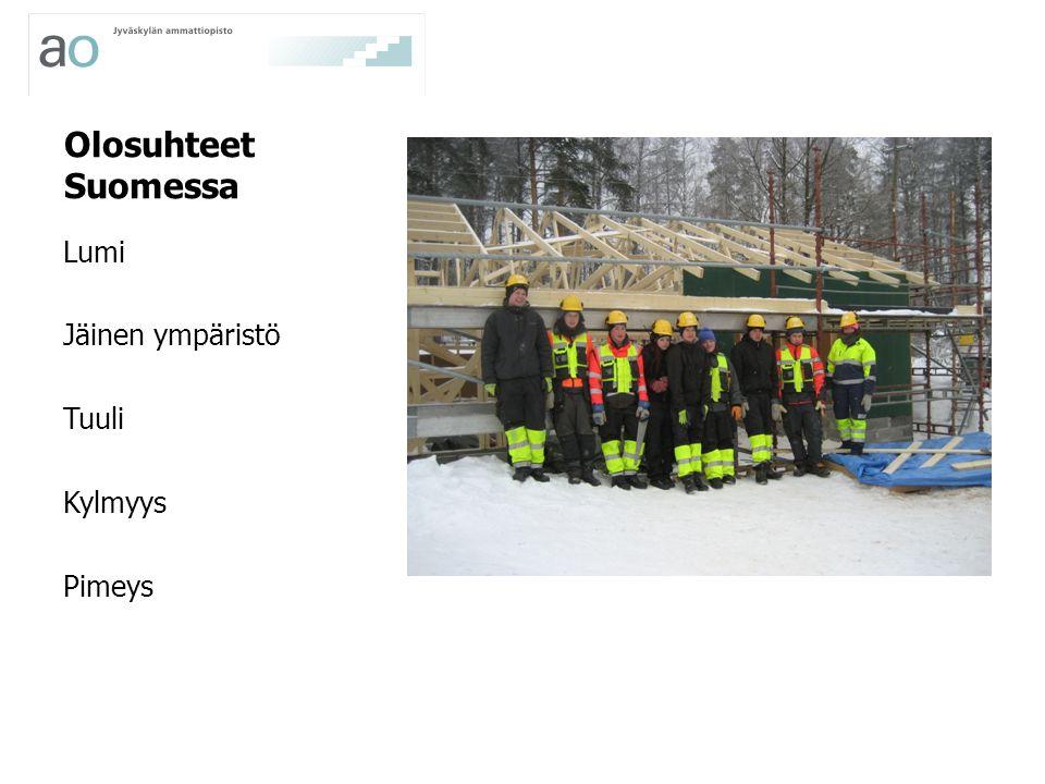 Olosuhteet Suomessa Lumi Jäinen ympäristö Tuuli Kylmyys Pimeys