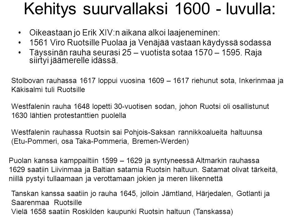 Kehitys suurvallaksi 1600 - luvulla: