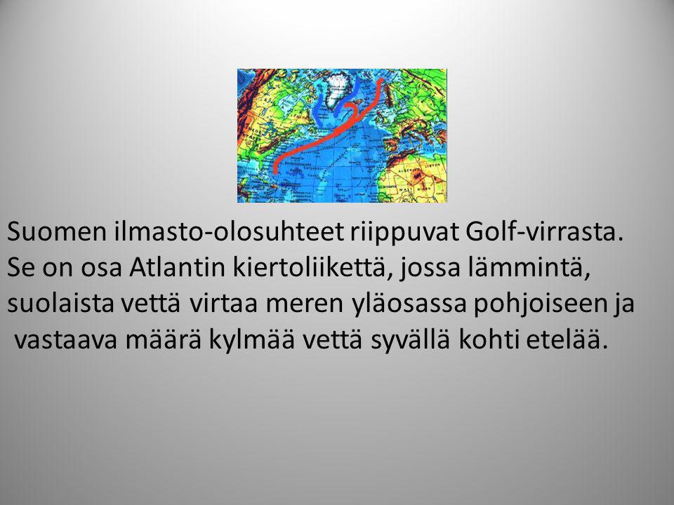 Suomen ilmasto-olosuhteet riippuvat Golf-virrasta.