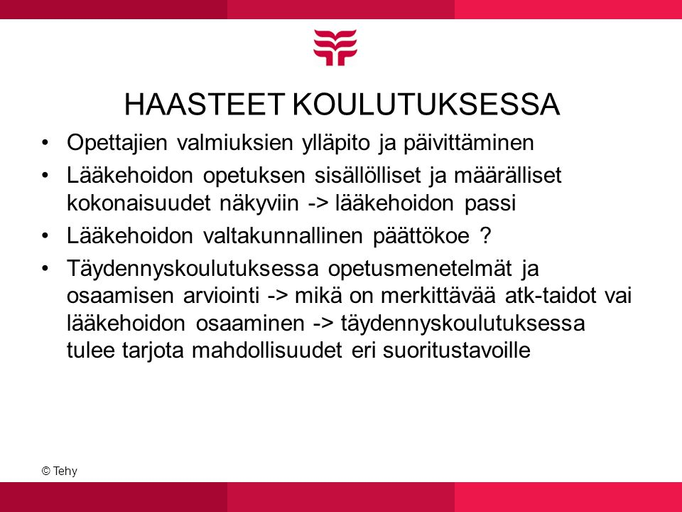 HAASTEET KOULUTUKSESSA