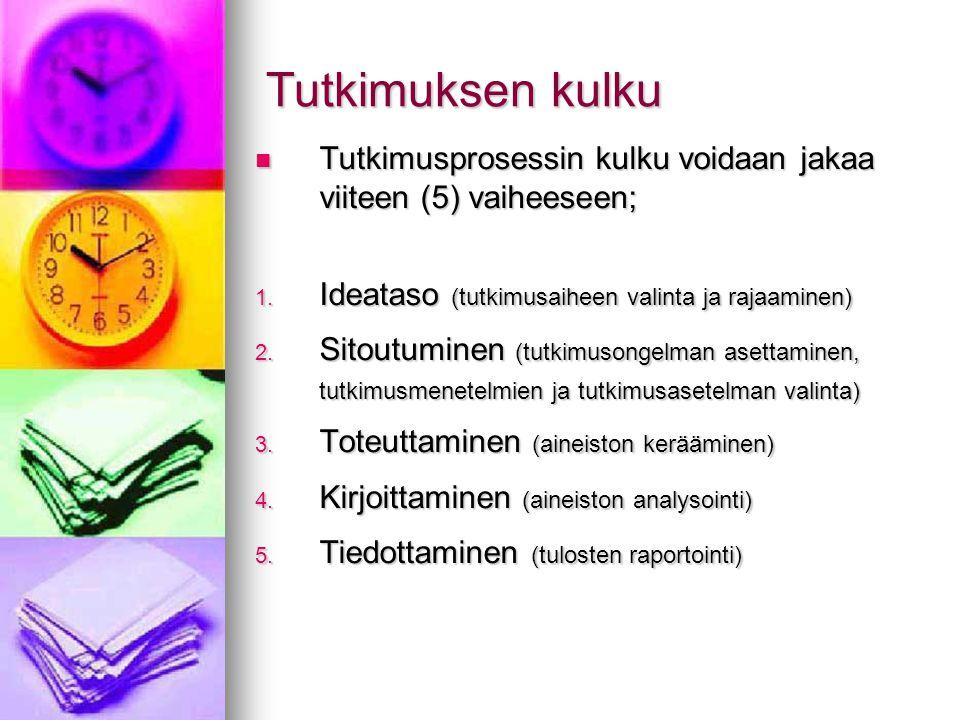 Tutkimuksen kulku Tutkimusprosessin kulku voidaan jakaa viiteen (5) vaiheeseen; Ideataso (tutkimusaiheen valinta ja rajaaminen)