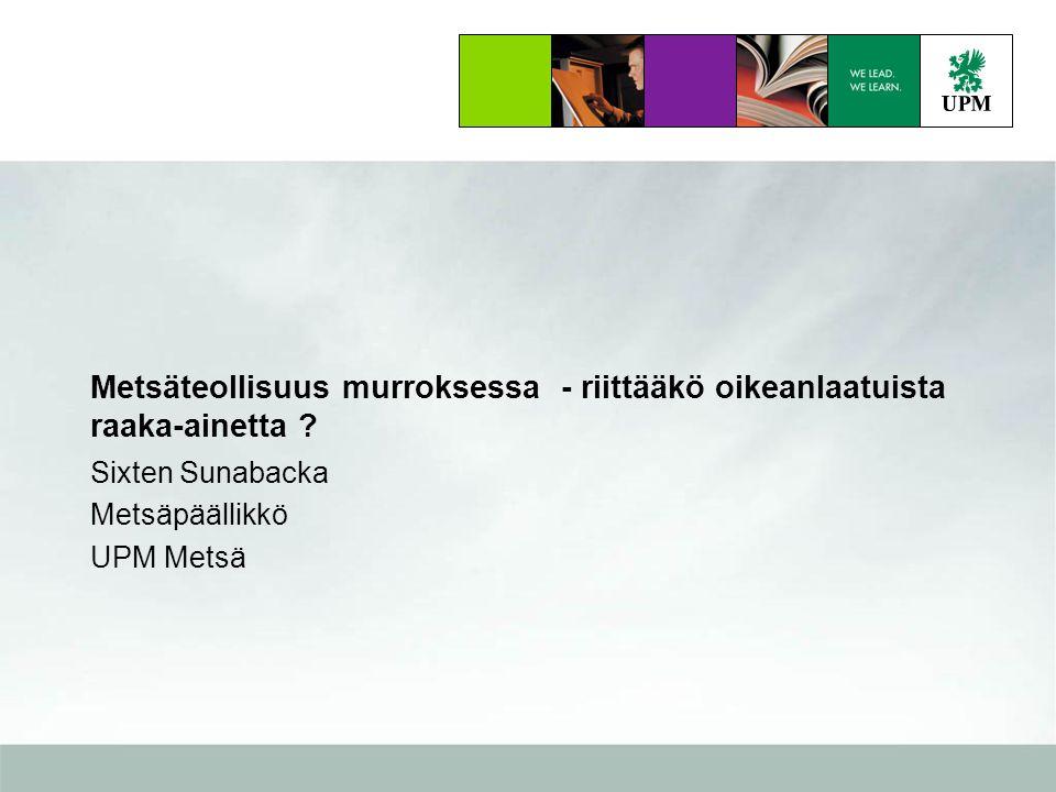Sixten Sunabacka Metsäpäällikkö UPM Metsä