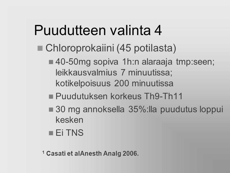Puudutteen valinta 4 Chloroprokaiini (45 potilasta)