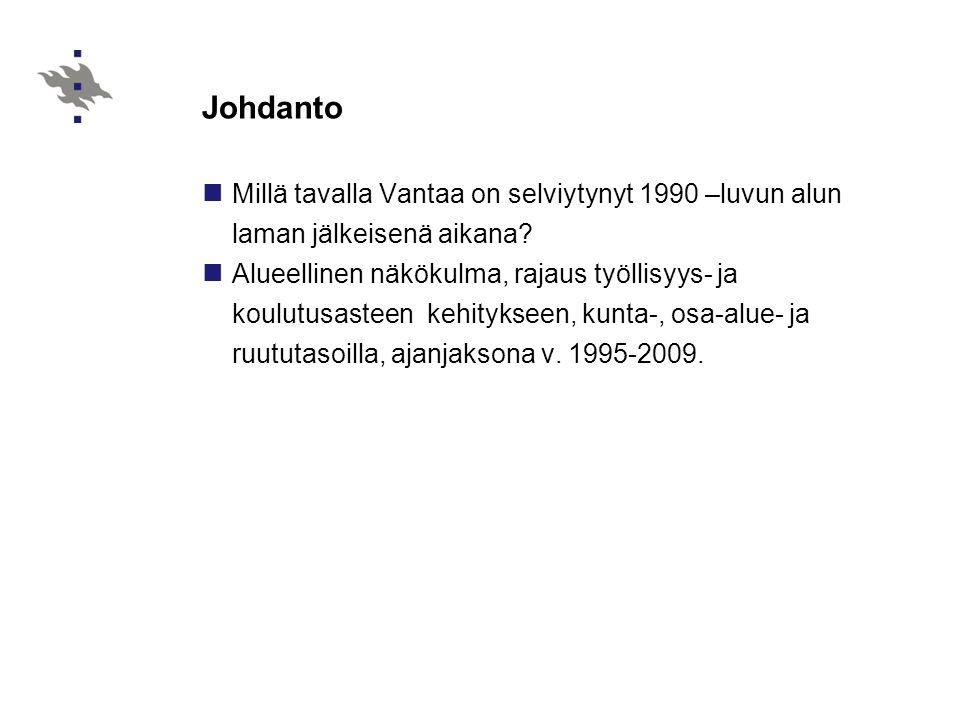 Johdanto Millä tavalla Vantaa on selviytynyt 1990 –luvun alun laman jälkeisenä aikana