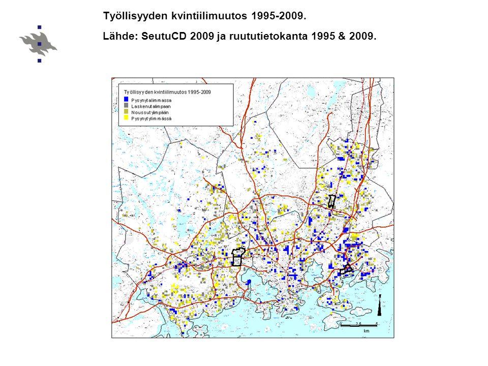 Työllisyyden kvintiilimuutos 1995-2009