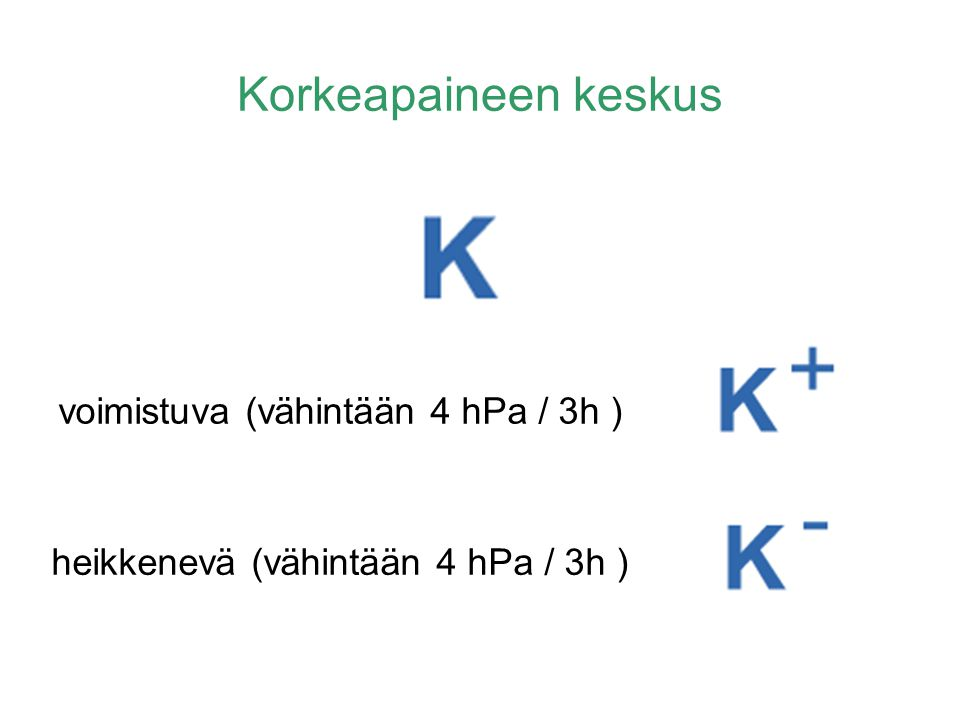 Korkeapaineen keskus heikkenevä (vähintään 4 hPa / 3h )
