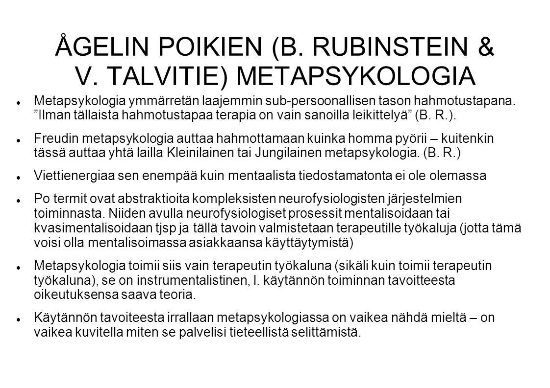 ÅGELIN POIKIEN (B. RUBINSTEIN & V. TALVITIE) METAPSYKOLOGIA