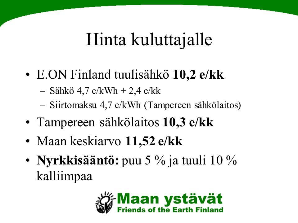 Hinta kuluttajalle E.ON Finland tuulisähkö 10,2 e/kk