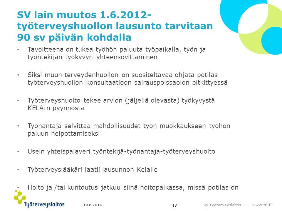 SV lain muutos 1.6.2012- työterveyshuollon lausunto tarvitaan 90 sv päivän kohdalla
