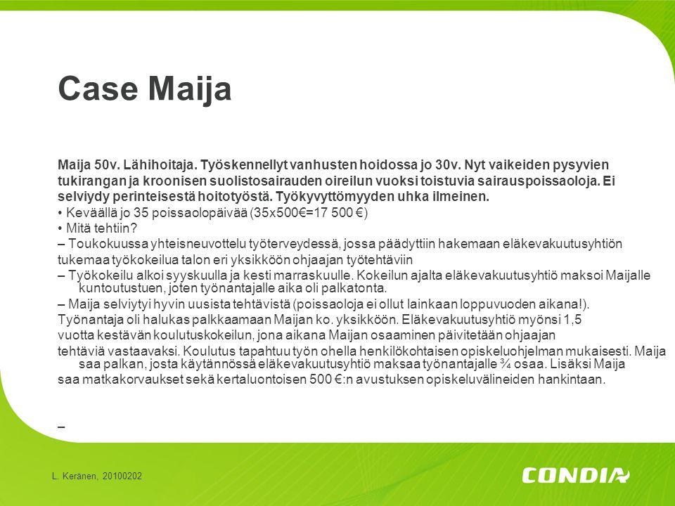 Case Maija Maija 50v. Lähihoitaja. Työskennellyt vanhusten hoidossa jo 30v. Nyt vaikeiden pysyvien.