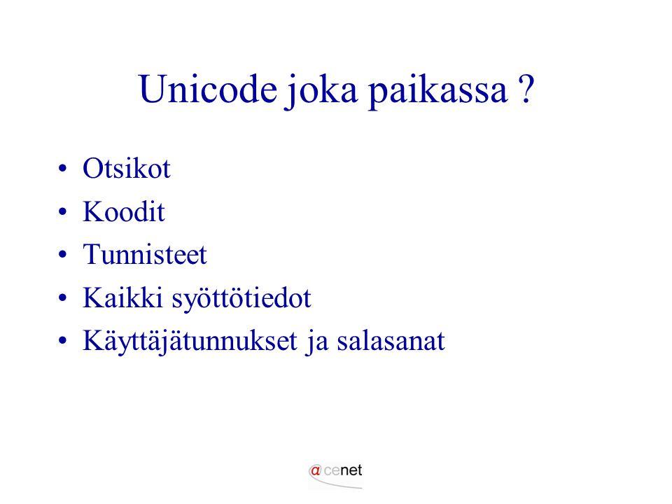 Unicode joka paikassa Otsikot Koodit Tunnisteet Kaikki syöttötiedot